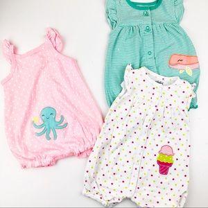 Bundle Set of Carter's 0-3 months Summer Rompers